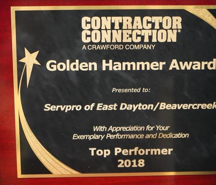 An award given to SERVPRO of East Dayton for Exemplary Performance and Dedication